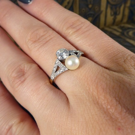 Art Deco Natural Pearl and Diamond Horizontal Two Stone Ring in 18ct Gold and Platinum