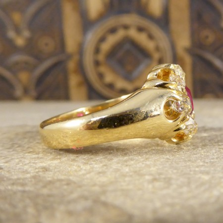 SOLD Antique Late Victorian Ring with 0.70ct Ruby and Diamond Cluster in 18ct Yellow Gold