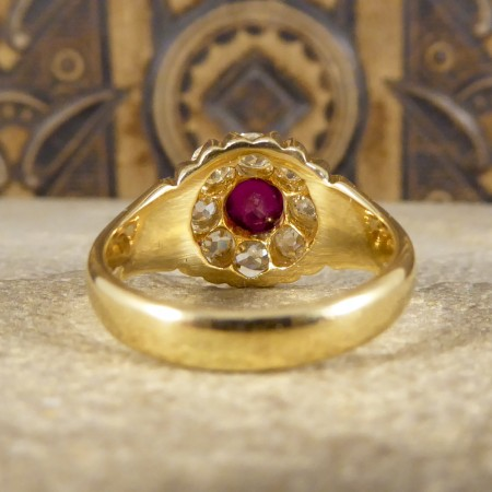 Antique Late Victorian Ring with 0.70ct Ruby and Diamond Cluster in 18ct Yellow Gold
