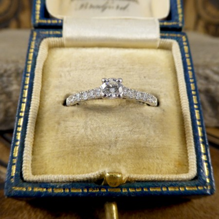 Contemporary Diamond Ring with Diamond Set Shoulders in 18ct White Gold