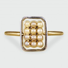 SOLD Edwardian Seed Pearl Panel Face Ring in 18ct Yellow Gold and Platinum