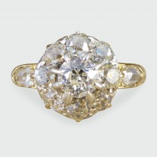 Late Victorian Diamond Flower Cluster Ring in 18ct Yellow Gold