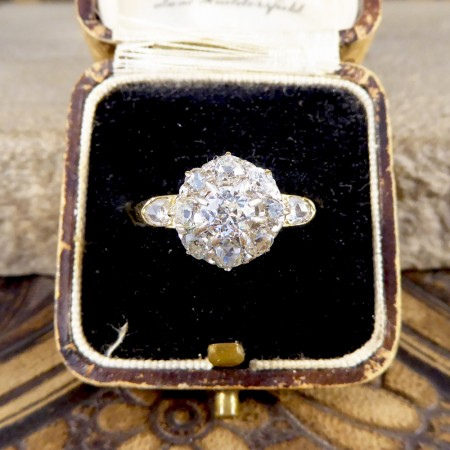 SOLD Late Victorian Diamond Flower Cluster Ring in 18ct Yellow Gold