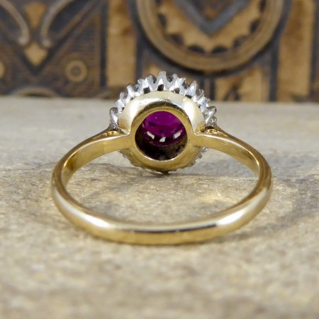 SOLD 1940's Ruby and Diamond Cluster Ring in 18ct Yellow Gold and Platinums
