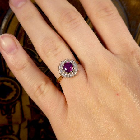 1940's Ruby and Diamond Cluster Ring in 18ct Yellow Gold and Platinum