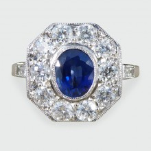 SOLD Contemporary Sapphire and Diamond Cluster Ring in Platinum