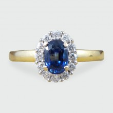 Contemporary Sapphire and Diamond Cluster Ring in 18ct White and Yellow Gold