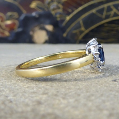 SOLD Contemporary Sapphire and Diamond Cluster Ring in 18ct White and Yellow Gold