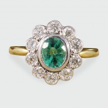 Contemporary 0.50ct Emerald and Diamond Cluster Ring in 18ct Gold
