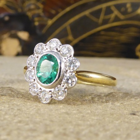 SOLD Contemporary 0.50ct Emerald and Diamond Cluster Ring in 18ct Gold