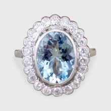Contemporary 1.90ct Aquamarine and Diamond Halo Cluster Ring in Platinum