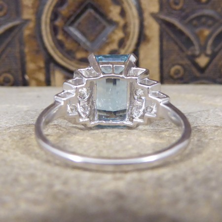 Art Deco Style Contemporary 3.95ct Aquamarine and Diamond Ring in Platinum