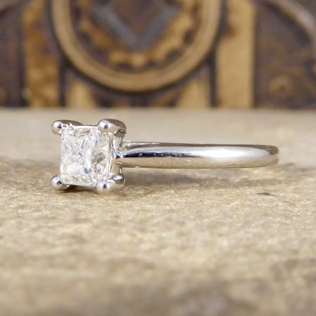 Contemporary 0.50ct Princess Cut Diamond Engagement Ring in Platinum
