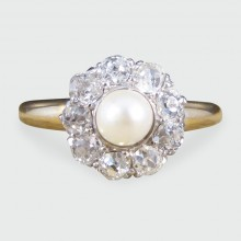 Edwardian Pearl and Diamond Flower Cluster Ring in 18ct Gold