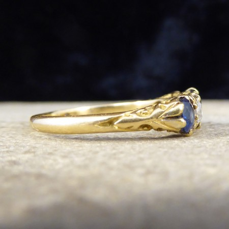 Antique Late Victorian Sapphire and Diamond Five Stone Ring in 18ct Yellow Gold