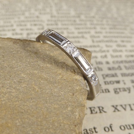 Art Deco Panel Eternity Band with Diamond set Dividers in 18ct White Gold
