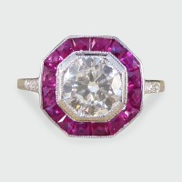 Contemporary Art Deco Style 1.01ct Diamond and Calibre Ruby Cluster Ring in 18ct White Gold