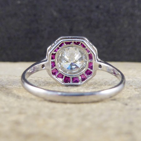 SOLD Contemporary Art Deco Style 1.01ct Diamond and Calibre Ruby Cluster Ring in 18ct White Gold