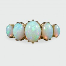 SOLD Antique Late Victorian Five Stone Opal Ring in 18ct Yellow Gold