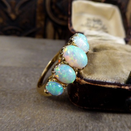 Antique Late Victorian Five Stone Opal Ring in 18ct Yellow Gold