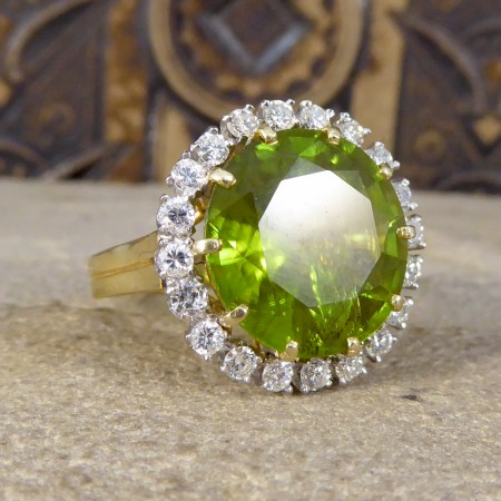 SOLD Large Peridot and Diamond Cluster Cocktail Ring in 14ct Yellow Gold