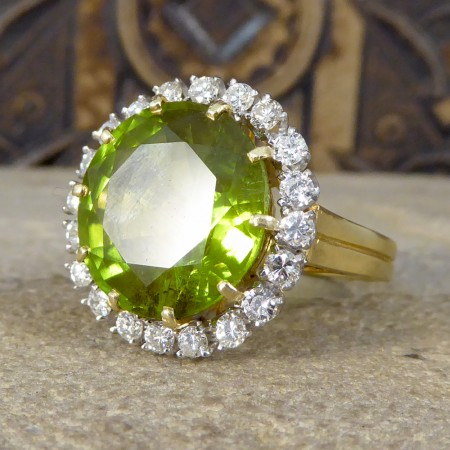 Large Peridot and Diamond Cluster Cocktail Ring in 14ct Yellow Gold