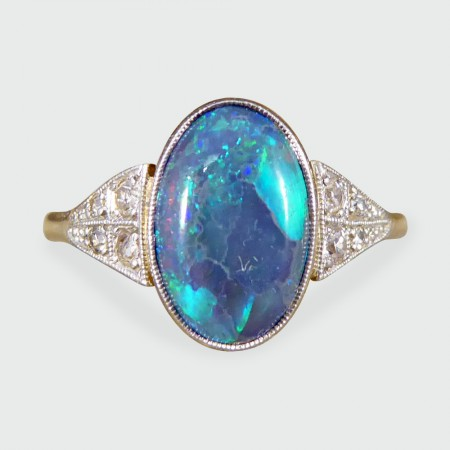 Art Deco Black Opal Ring with Diamond Shoulders in 18ct Gold and Platinum