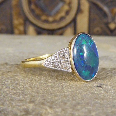 SOLD Art Deco Black Opal Ring with Diamond Shoulders in 18ct Gold and Platinum