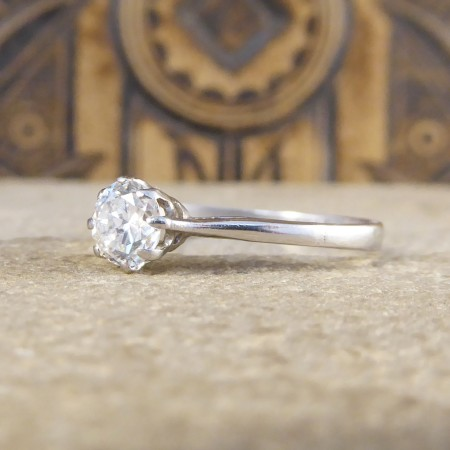 1930's 0.45ct Diamond Solitaire Engagement Ring in 18ct White Gold and Platinum