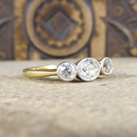 SOLD Edwardian Collar Set Three Stone Diamond Ring in 18ct Gold and Platinum