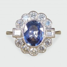SOLD 1.40ct Sapphire and 0.65ct Diamond Cluster Ring in 18ct White Gold and Platinum