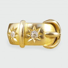 SOLD Late Victorian Antique Diamond set Buckle Ring in 18ct Yellow Gold