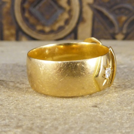 Late Victorian Antique Diamond set Buckle Ring in 18ct Yellow Gold
