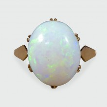 SOLD Edwardian Single Cabochon Oval Opal Ring in 9ct Yellow Gold