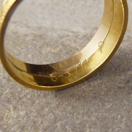 Detailed Wide Tri Colour Gold Wedding Band in 18ct Gold