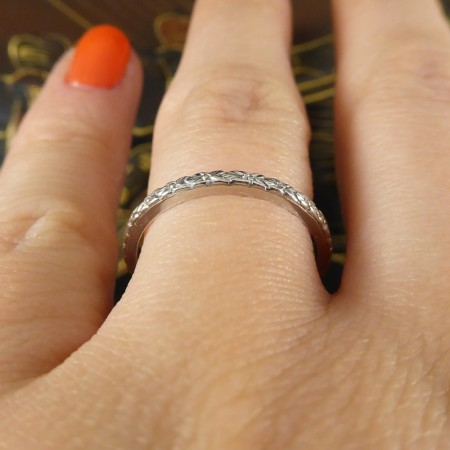SOLD Antique Edwardian Fine Detailed Platinum Band