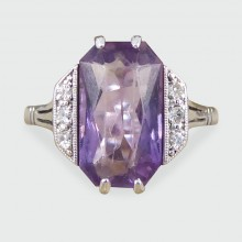 SOLD Art Deco Amethyst and Diamond Ring in 18ct White Gold and Platinum