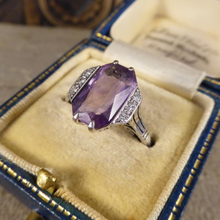 Art Deco Amethyst and Diamond Ring in 18ct White Gold and Platinum