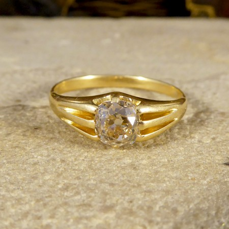 Late Victorian Gypsy set Old Cushion Cut Diamond Ring in 18ct Yellow Gold