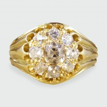 Late Victorian Diamond Cluster Ring in 18ct Yellow Gold