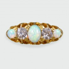 Edwardian Opal and Diamond Five Stone Ring in 18ct Yellow Gold