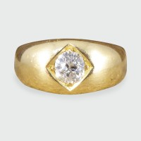 Antique 0.50ct Diamond Gypsy set Ring in 18ct Yellow Gold