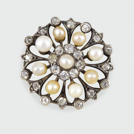 SOLD Late Victorian Diamond and Pearl Statement Ring in White Gold and Silver