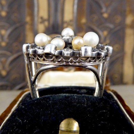 Late Victorian Diamond and Pearl Statement Ring in White Gold and Silver