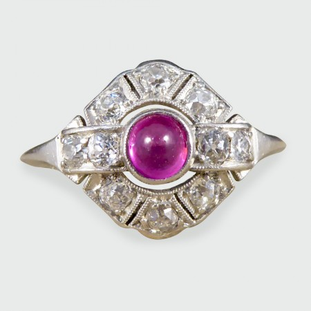 SOLD Art Deco Cabochon Ruby and Diamond Ring in Platinum