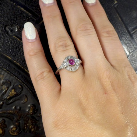 Art Deco Cabochon Ruby and Diamond Ring in Platinum