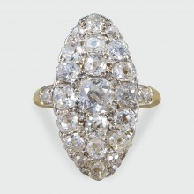 SOLD Late Victorian Navette Shaped Diamond Cluster Ring in 18ct Yellow Gold