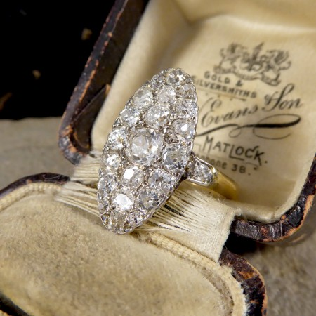 Late Victorian Navette Shaped Diamond Cluster Ring in 18ct Yellow Gold
