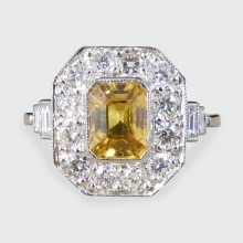 SOLD Contemporary Art Deco Style Yellow Sapphire and Diamond Cluster Ring in Platinum