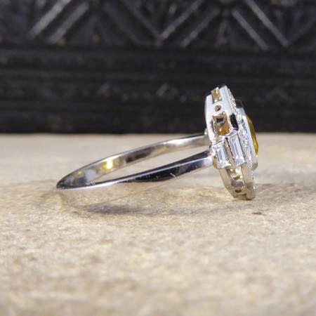 Contemporary Art Deco Style Yellow Sapphire and Diamond Cluster Ring in Platinum
